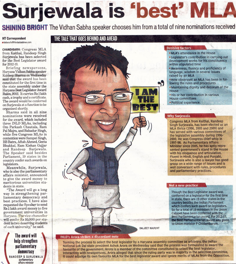 Surjewala is 'best' MLA